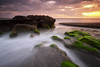 Sunset in Seseh (eggysayoga) Tags: longexposure sunset bali cloud seascape green beach water rock indonesia landscape moss sand fuji cloudy ss le fujifilm f2 12mm bower pantai waterscape canggu samyang seseh xt1 rokinon