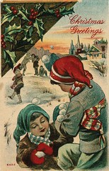 Antique Christmas Postcard - Snowball Fight (Brynn Thorssen) Tags: santa christmas xmas red holiday snow green vintage gold antique holly postcards yule fatherchristmas santaclaus merrychristmas santaklaus happynewyear happychristmas yuletide oldsaintnick