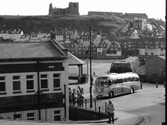 Whitby - Re-Living the 1960s. (ManOfYorkshire) Tags: blackandwhite bw church bedford tour harbour super whitby 1960s sb3 seafront vega 2015 duple bedfordsb coastalcountry 696uxo
