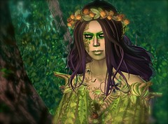 Green Inspiration 03 (mondi.beaumont) Tags: wood woman green nature girl forest costume natural avatar sl elf fantasy secondlife fallen gods rp mystic elves fae obscura roleplay elven caverna