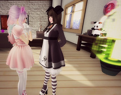 OMG (littlerowan) Tags: doll transformation makeup lingerie lolita makeover egl dolly petticoat bloomers dollface gothiclolita pannier thighhighs stripedsocks hairbows himelolita katat0nik pixicat
