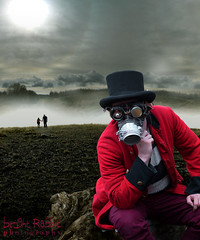 Soldier at the end of the world (Bright Rabbit Photography) Tags: photoshop soldier goggles bowlerhat bookcover bookjacket steampunk redjacket postapocalyptic jamesbarton porthwalesunitedkingdomgb