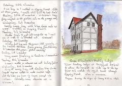 Queen Elizabeth's Hunting Lodge, Chingford (Hornbeam Arts) Tags: sketch watercolour epping