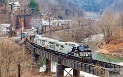 NS 80N Dry Fork CPL 4005 (HeritageNY) Tags: ns train hopper west virginia horsemane 4005 4003 bridge water cpl