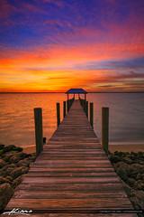 Pier at Sunset Stuart Florida along the Waterway (Captain Kimo) Tags: captainkimo easyhdr florida hdrphotography houseofrefuge hutchinsonisland okeechobeewaterway pier stuart sunset