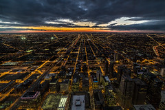 Chicago from the Sears Tower (Piotr_PopUp) Tags: chicago searstower willistower sunset sun cityscape city illinois us usa horizon urban wideangle bluehour