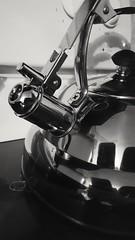 Day 13 Of 365 Days Of Coffee (SarahJDhue) Tags: sarahjdhue sarahjdhuephotos cellphone samsung galaxys6 newsprintfilter bw blackandwhite teapot kettle shiny 365daysofcoffee coffee sick 365 challenge photo 13 2017