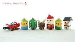Pixel Santa (dvdliu) Tags: lego moc basic classic sculpture statue xmas christmas santa claus snowman dear elf
