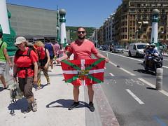 In San Sebastian holding the basque flag!