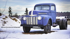 Big Ol' Blue Ford Truck (Michael Bartoshevich) Tags: old blue truck 6wheeler pickup twoseater ford antique classic canon 5d winter newhampshire snow snowcovered blueandwhitetruck mysterymodel