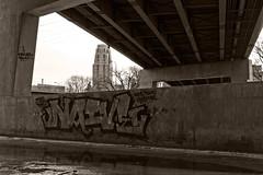 Believe in something better (TwinCitiesSeen) Tags: minneapolis minnesota blackandwhite canont3i tamron2875mm graffiti twincities twincitiesseen