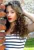 Fashion Shoot (Lucie Bevan Photography) Tags: fashion stripy dress morrocan curls redlips red lipstick location wall brick