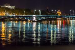 Pont de la Guillotiere, Lyons, France (Jill Clardy) Tags: 4b4a6250 lyon france bridge night river reflections quai claude bernard vantage cruise le rhone pont de la guillotiere