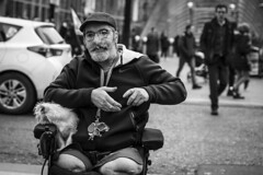 Dog Days Are Over (Leanne Boulton) Tags: people monochrome portrait urban street candid portraiture streetphotography candidstreetphotography candidportrait streetportrait streetlife man male face facial expression beard elderly look emotion feeling smoke smoker smoking cigarette pet dog pooch wheelchair disabled amputee legs disability sociallandscape tone texture detail depthoffield bokeh naturallight outdoor light shade shadow city scene human life living humanity society culture canon canon5d 5dmkiii 70mm character ef2470mmf28liiusm black white blackwhite bw mono blackandwhite glasgow scotland uk