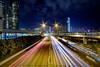 West Kowloon Highway (jmywong) Tags: night asia skyscrapers hongkong architecture longexposure nightscene traffic city