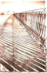 Railings (megalithicmatt) Tags: mordançage lith print om4 railings shadows makinon24mmf28 sensia100 xpro ilfordwarmtone