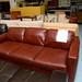 3 seater tan leather sofa