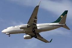 HZ-MF1 Kingdom of Saudi Arabia 737-7FG BBJ at KCLE (GeorgeM757) Tags: hzmf1 saudi kingdomofsaudiarabia 7377fgbbj aircraft alltypesoftransport aviation boeing spotting kcle georgem757 landing