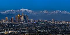 Snow Topped San Gabriel Range (clarsonx) Tags: losangeles california kennethhahnstaterecreationarea sangabrielmountains mtbaldy snow dtla la downtown city cityscape landscape bluehour dusk twilight panoama
