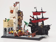 TT:R3: The Cat's Claws (W. Navarre) Tags: lego pirates castle pirate ship black red dark house moc minifig minifigure cage dock water port soldier attack