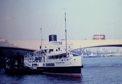 Old Caledonia 091970 (Rossendalian2013) Tags: paddlesteamer ps caledonia oldcaledonia hmsgotafell minesweeper ship riverthames embankment london williamdenneybrothersdumbarton caledoniansteampacketcompany londontransport aec regent rt bus waterloobridge