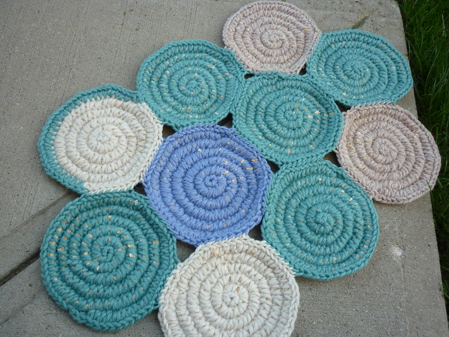 rug in teal, blue and cream