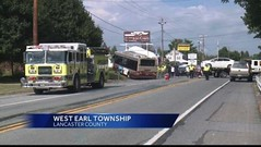 8-20-15-Five people were hurt Wednesday afternoon when a Red Rose Transit bus collided with a car on Oregon Pike near Stone Quarry Road in West Earl Township, PA (dfirecop) Tags: bus publictransportation crash accident pennsylvania pa lancaster lancastercounty wreck dfirecop