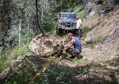 small obstacles (fantomdesigns) Tags: road camping camp fall rock 4x4 off boulder land winch cruiser recovery chilcotin taseko