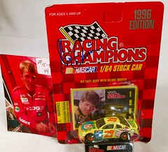 #18-44, Steve Grissom, Signing, Racing Champions, 1996, Cartoon Network, Fred Flintstone, Flintmobile, #29,  Winston Cup, (Picture Proof Autographs) Tags: auto classic cars scale car sign real toy toys photo model automobile image display models picture images collection vehicles photographs photograph collections nascar displays 164 vehicle driver proof session autoracing autos collectible collectors signing automobiles collectibles authentic sessions collector drivers genuine diecast winstoncup carded buschseries inperson 164th photoproof authenticated blisterpacks pictureproof