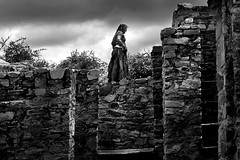 "Lady at Old Fort [ ""X"" ] (Rk Rao) Tags: blackandwhite india streetphotography oldlady dailylife period 91 rajasthan shadowandlight bhangarh trulife"