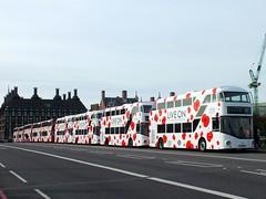 Westminster Bridge - Poppy Bus Launch - London United's LT150 - LTZ1150 (Waterford_Man) Tags: hybrid nrm londonunited wrightbus nb4l lt150 poppybus ltz1150