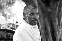 Rickshaw Puller #2 (vtuli77) Tags: street monochrome portraits canon 50mm chandigarh scottkelby niftyfifty canon450d digitalrebelxsi canondigitalrebelxsi worldwidewalk