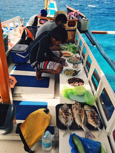 The crew preparing lunch