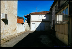 161022-1084-XM1.jpg (hopeless128) Tags: france sky eurotrip 2016 reflections buildings shadows champagnemouton nouvelleaquitaine fr