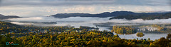 Windermere Morning Mists (Dave Massey Photography) Tags: autumn boats bowness cloudinversion cumbria lakedistrict mist panorama windermere woodland yachts orresthead
