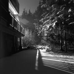 Government Camp, an early winter's night (Zeb Andrews) Tags: hasselblad kodaktrix governmentcamp snowynight film mediumformat blackwhite oregon mthood pacificnorthwest winter snow night hasselblad500c 6x6