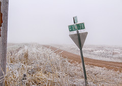 The Cold and Lonely Road (flex9050) Tags: road storm ice lonely bleak desolate sign frozen cold