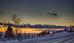 Icy Roads (Danny VB) Tags: sunset road 132 icyroad icyroads gaspesie quebec canada winter neige snow cold warm canon 6d dannyboy ef70200mmf28lisiiusm tree ciel cloud clouds house redhouse maisonrouge hiver zima vinter
