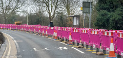 Pink Curve (M C Smith) Tags: barriers street roadworks pink pentax cones shelter trees dumptruck road bushes green sky lamps