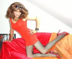 red and red over red (Katvarina) Tags: crossdress crossdressing transgirl transgurl transgender crossdresser redhead reddress
