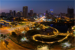 Heart of Love River (jos.pannekoek) Tags: kaohsiung love river taiwan cityscape twillight city d500 tokina1116mmf28 tokinaaf1116mmf28 tokina bridge fietsbrug panorama pano