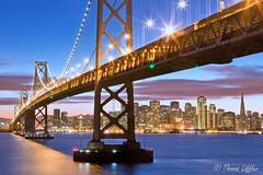 Oakland Bay Bridge (funtor) Tags: bridge colors twilight blue light city night california usa