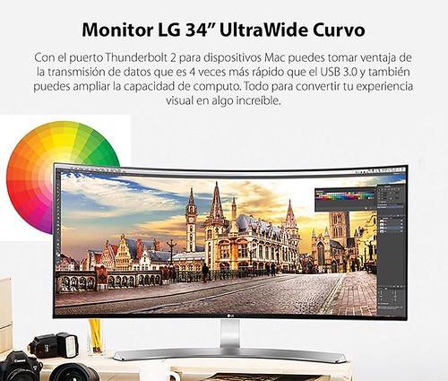 """Monitor LG Curvo de 34"""" ideal para trabajar tu creatividad al máximo, disponible en @compudemano, #cadadiamejor. Visita nuestra tienda o llámanos Bogotá: (1) 381 9922 - Medellín: (4) 204 0707 - Cali (2) 891 2999 - Barranquilla: (5) 316 1300 - Pereira: (6)"""