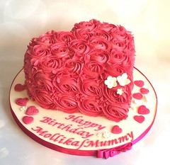 Valentine birthday heart cake