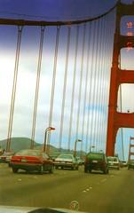 img437 Golden Gate Bridge - Driving with Traffic (kalihikahuna74 (OkinawaKhan808)) Tags: cali california thebay bayarea vacation trip august 1997 1990s 90s analog predigital camera scanned scan old oldschool school pointandshootcamera pointandshoot us america unitedstates unitedstatesofamerica sanfrancisco san francisco stateside