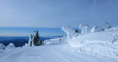 Under the snow ghosts on Juniper Ridge (Ruth and Dave) Tags: dave snowboarder juniperridge topoftheworld todmountain sunpeaks skiresort trail piste skirun groomed corduroy snowboarding flat tree snowghost sky clouds weather weatherphotography