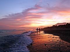 Reflejos en la orilla (Antonio Chacon) Tags: sunset espaa atardecer mar spain andalucia costadelsol mediterrneo mlaga marbella