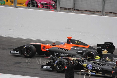 Nick Yelloy and Roy Nissany on the Grid for the Formula Renault 3.5 Saturday Race at Silverstone