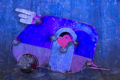 Let's Hit the Road! (lensletter) Tags: blue bird texture photomanipulation birdhouse layers trailer rv fleamarketfind theawardtree kreativepeoplegroup lensletter recreationalvehicletraveltravelinstylepinkwingstravelontheroadtexturephotomanipulationlensletter