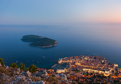 Fortress City (Nomadic Vision Photography) Tags: travel summer twilight europe croatia viewpoint fortress touristattraction jonreid pastelskies lokrumisland tinareid nomadicvisioncom
